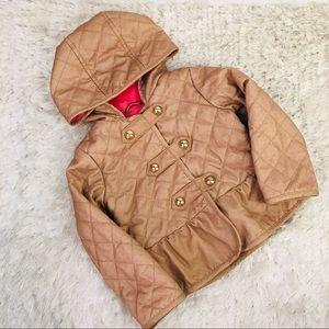 Baby Gap Tan Pink Polka Dot Quilted Jacket Sz 4T